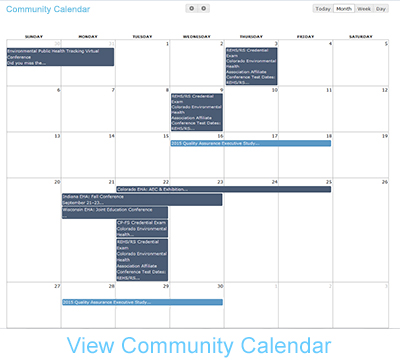 NEHA Community Calendar Image